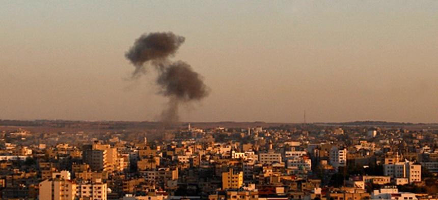 Smoke rises following an Israeli attack on Gaza City, Thursday, Nov. 15, 2012.