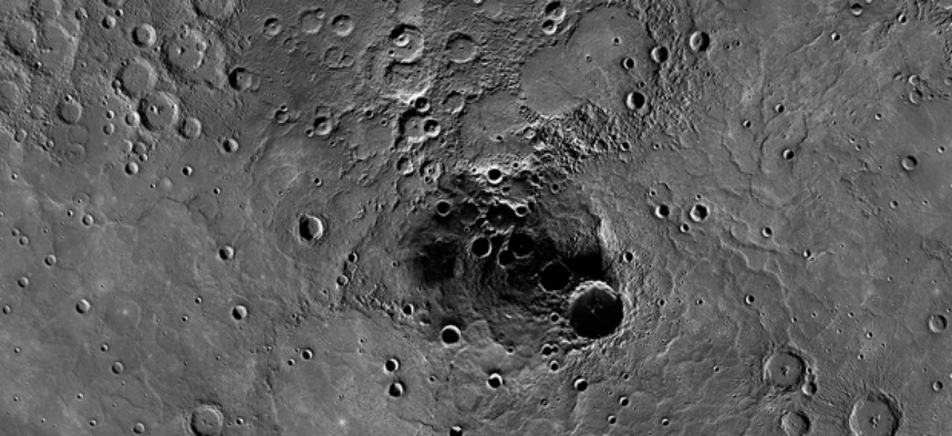 A 68-mile-diameter crater in the north polar region of Mercury which has been shown to harbor water ice.