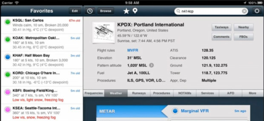 The Foreflight application has multiple windows of information available.