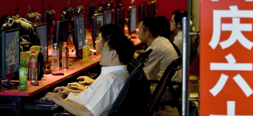 An Internet cafe in Peking, China