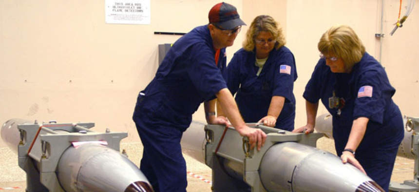 Technicians at the Pantex Plant in Texas ready a B-61 nuclear gravity bomb for a 2007 surveillance test.