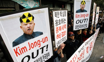 South Korean protesters shout slogans during a rally against possible nuclear tests by North Korea in Seoul, South Korea.