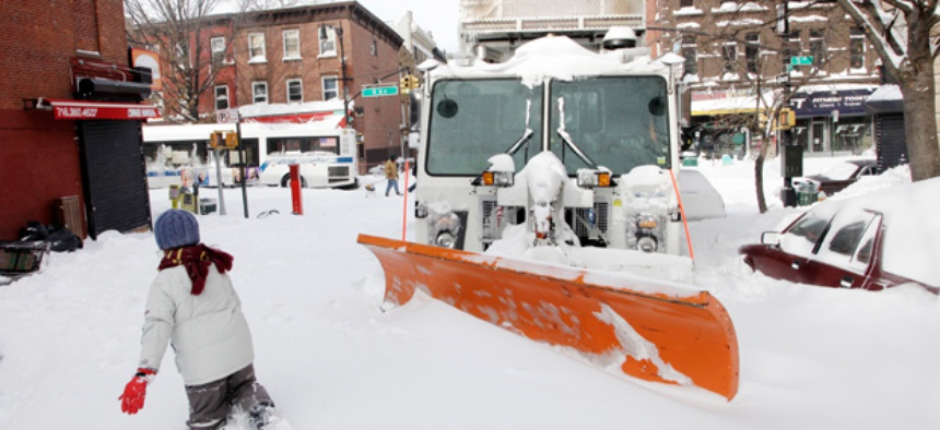 A snow plow in Brooklyn, NY.
