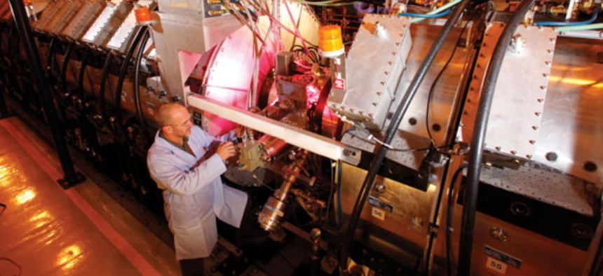 A scientist used the Dual-Axis Radiographic Hydrodynamic Test Facility at Los Alamos.