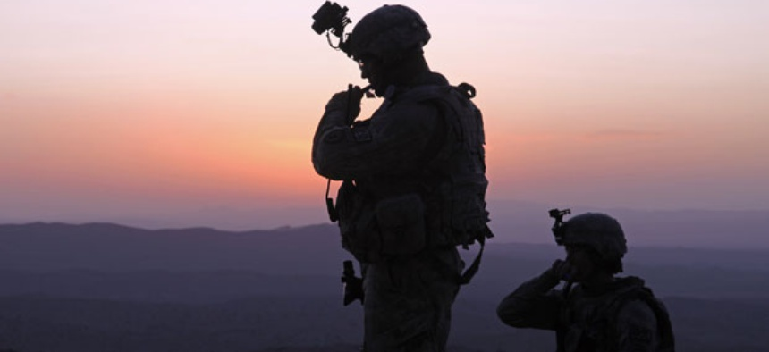 Solders patrol in the mountains near Sar Howza, Paktika province, Afghanistan. The Army is