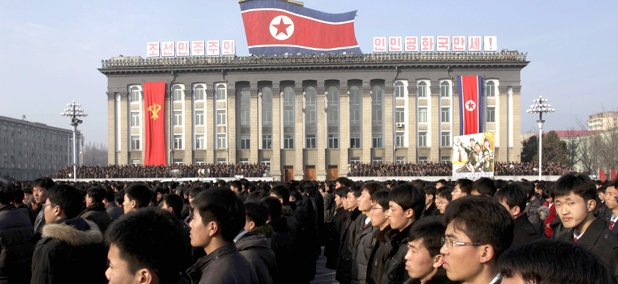 North Koreans attend a rally in support of a statement by a spokesman for the Supreme Command of the Korean People's Army vowing to cancel the 1953 cease-fire that ended the Korean War.
