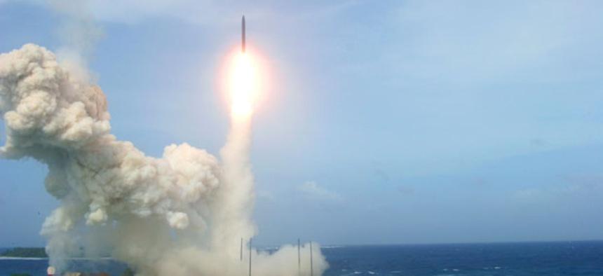 A U.S. ballistic missile interceptor takes off in a Jan. 26 flight test from California.