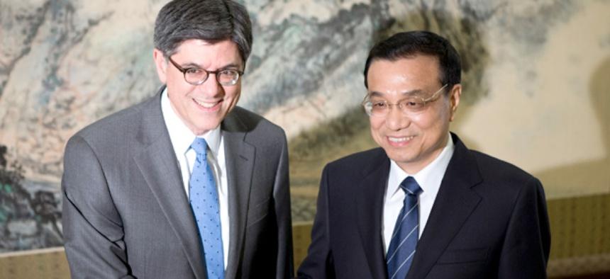 U.S. Treasury Secretary Jacob Lew, left, and Chinese Premier Li Keqiang