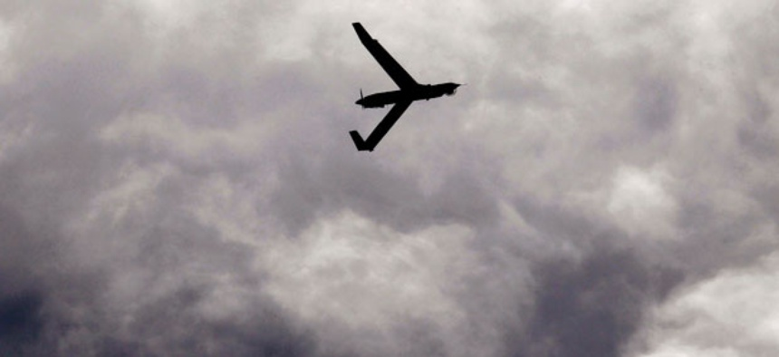 A small unmanned aerial vehicle flies over Arlington, Ore.
