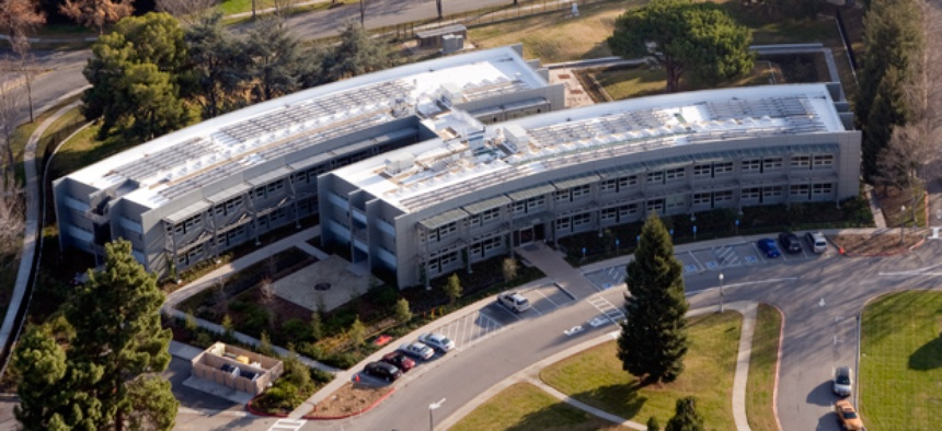 An aerial photograph of the Sustainability Base at NASA's Ames Research Center,