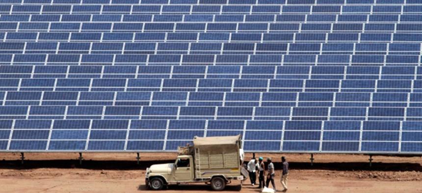 The Gujarat Solar Park near Ahmadabad, India