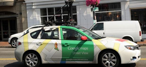 One of Google's streetview cars drives through Washington, DC.