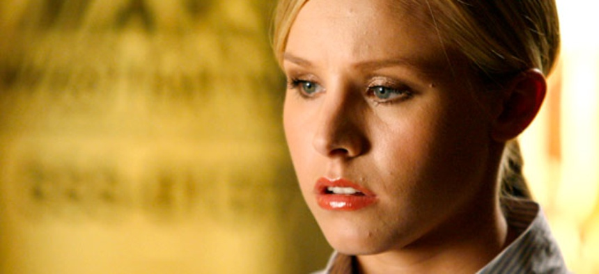 "Actress Kristen Bell appears on the set of the television series ""Veronica Mars""."