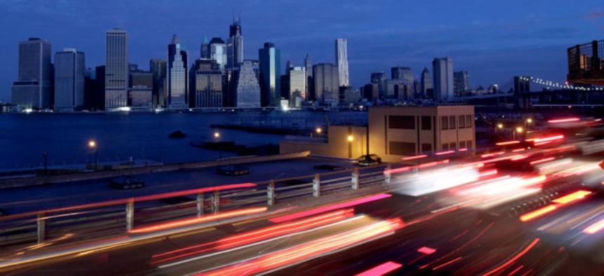 Early morning traffic in Brooklyn