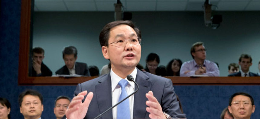 Charles Ding, Huawei Technologies Ltd's senior vice president for the U.S., testifies on Capitol Hill in Washington.