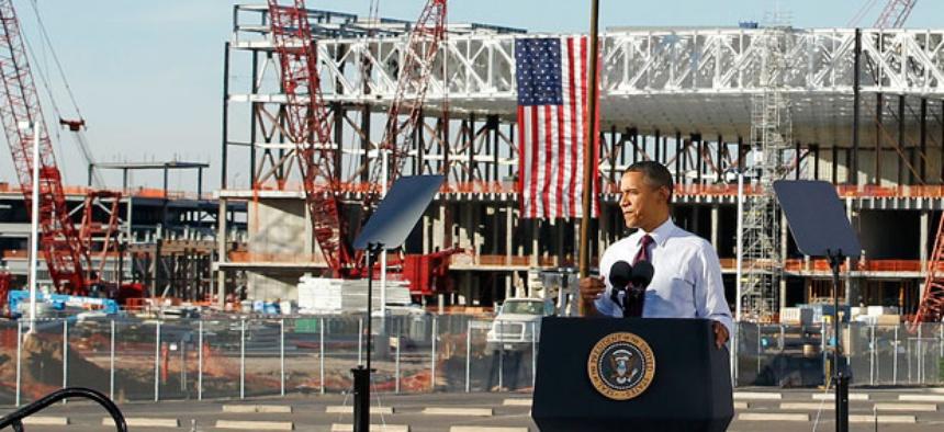 President Barack Obama speaks during construction expansion at Intel, maker of microchips.