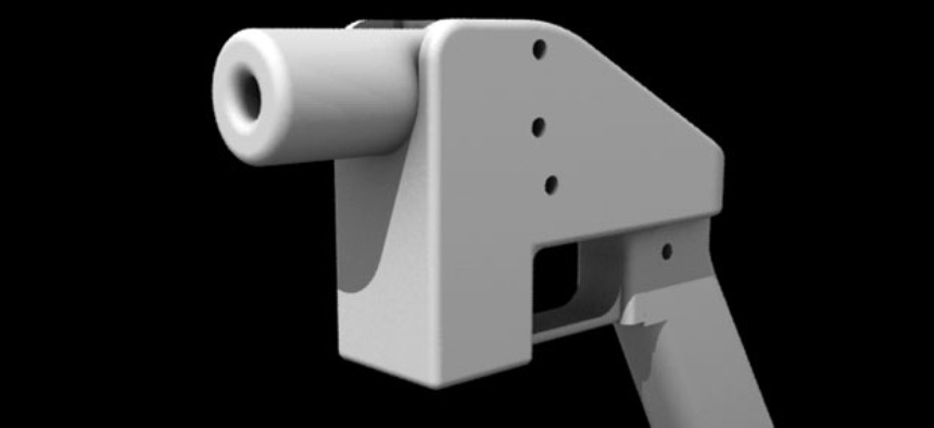 A digital rendering of the Liberator, a firearm that can now be printed on a 3D printer