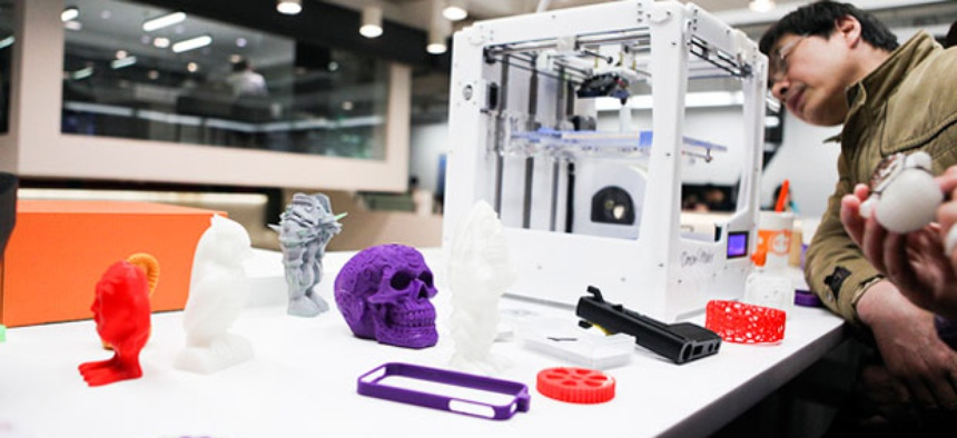 A 3D printer on display at a technology conference in Shanghai.