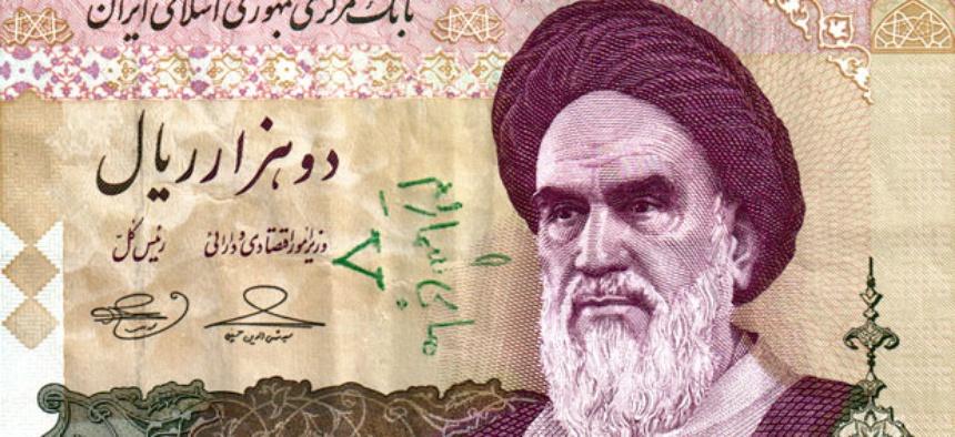 A 2,000 rial Iranian banknote showing the Islamic Republic's founder Ayatollah Ruhollah Khomeini