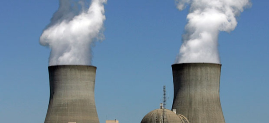 Steam rises from the cooling towers of nuclear reactors at Plant Vogtle, in Waynesboro, Ga.