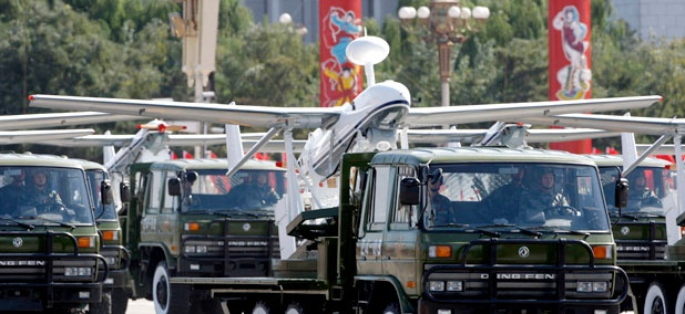 A truck loaded with the Chinese made drone, the ASN-207, takes part in a military parade in Beijing, China.
