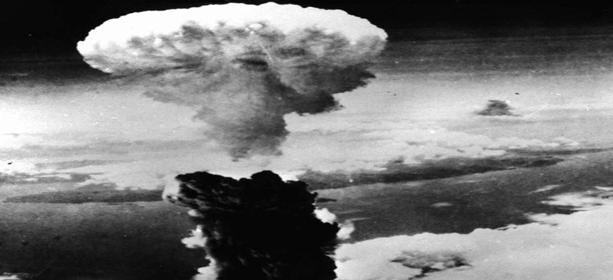 A mushroom cloud was formed  after the throwing of second atomic bomb over Nagasaki, Japan on August 9, 1945.