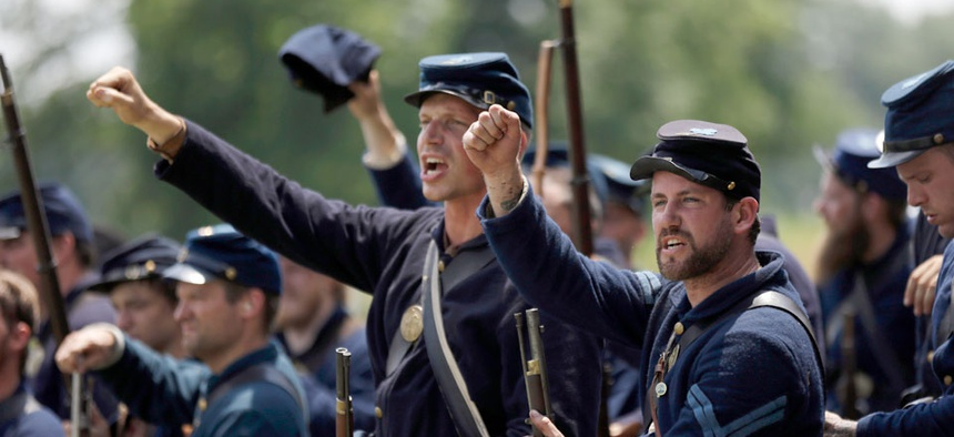 Re-enactors commemorate the 150th anniversary of the Battle of Gettysburg, Sunday, June 30, 2013.