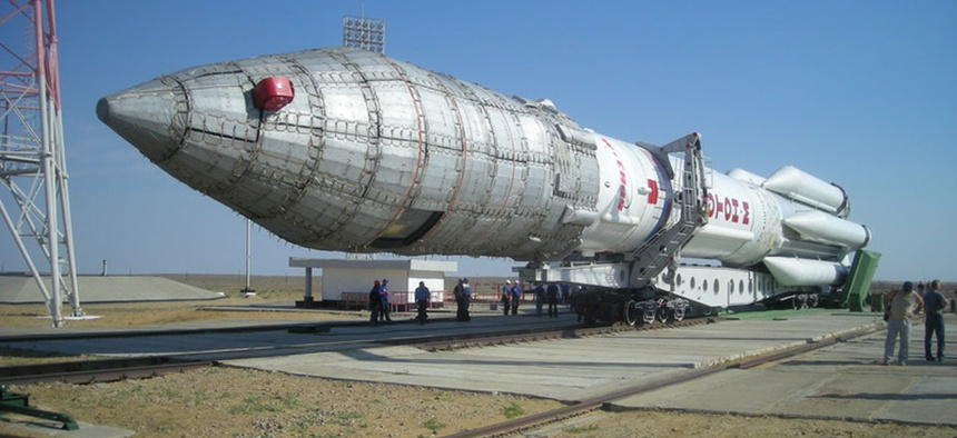 A Proton-M rocket was to carry three of the Russian system's spacecraft, but crashed immediately after launch.
