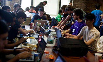 Hackers work during the 2011 HackNY Student Hackathon.