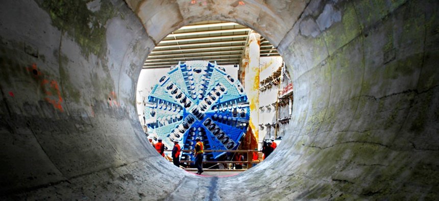 A tunnel boring machine, like this one shown in New York, is an option for tunneling under Bohai Bay.