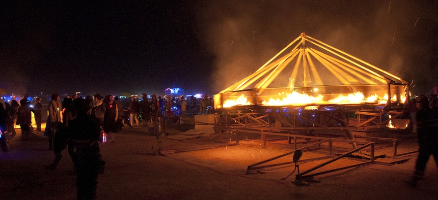The Fire-Go-Round was set aflame at Burning Man 2012.