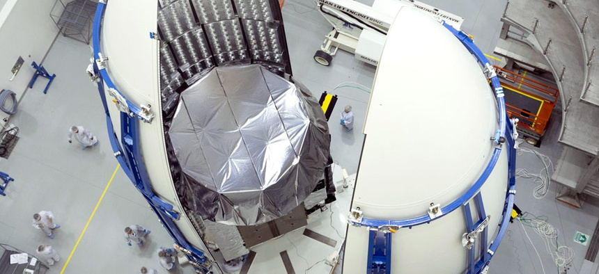The second MUOS satellite encapsulated into its payload fairing.