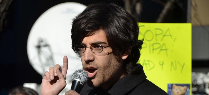 Aaron Swartz spoke at a SOPA protest in 2012.