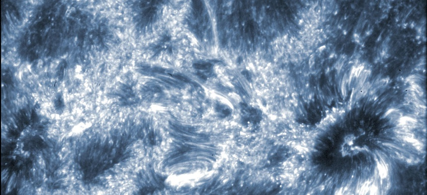 An image of the sun taken by the ISIS telescope