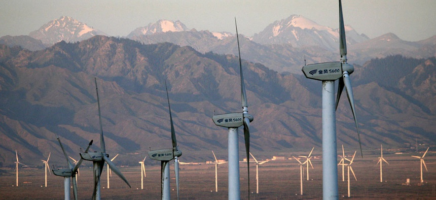 The Da Bancheng Wind Farm, south of Urumqi, in Xinjiang, China