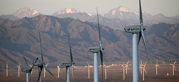 The Da Bancheng Wind Farm, south of Urumqi, in Xinjiang, China