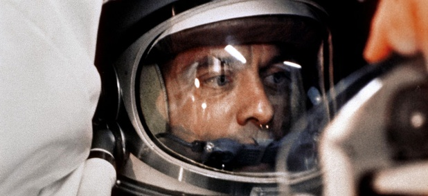 Astronaut Alan Shepard sits in his Freedom 7 Mercury capsule, ready for launch.
