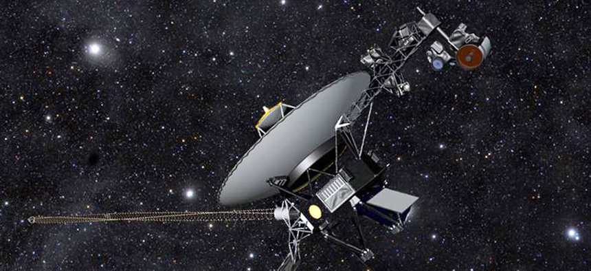 This artist rendering hows NASA's Voyager 1 spacecraft barreling through space.