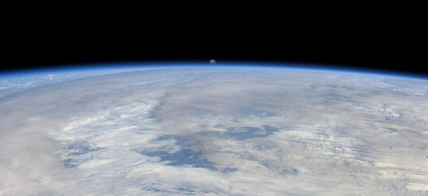 NASA retweeted an astronaut's photo of the setting moon in August.