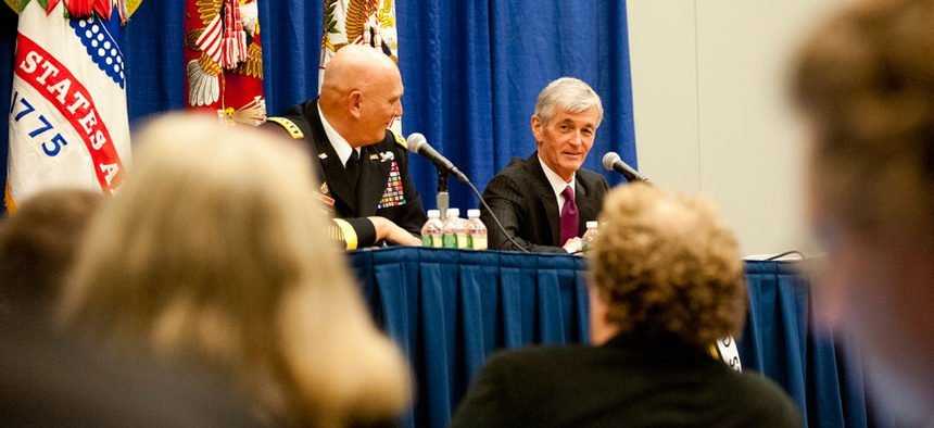 Secretary of the Army John M. McHugh and Army Chief of Staff Gen. Raymond T. Odierno spoke at the 2012 Association of the United States Army Annual Meeting and Exposition in 2012.