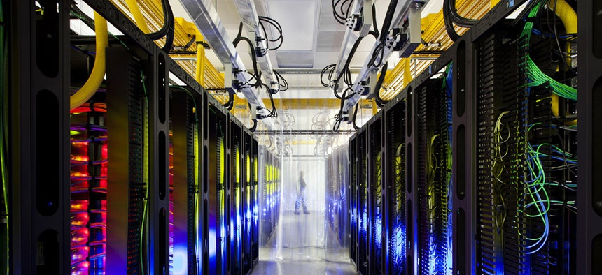 Google's campus-network room at a data center in Council Bluffs, Iowa.