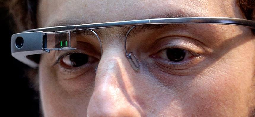 Google co-founder Sergey Brin wears Google Glass.