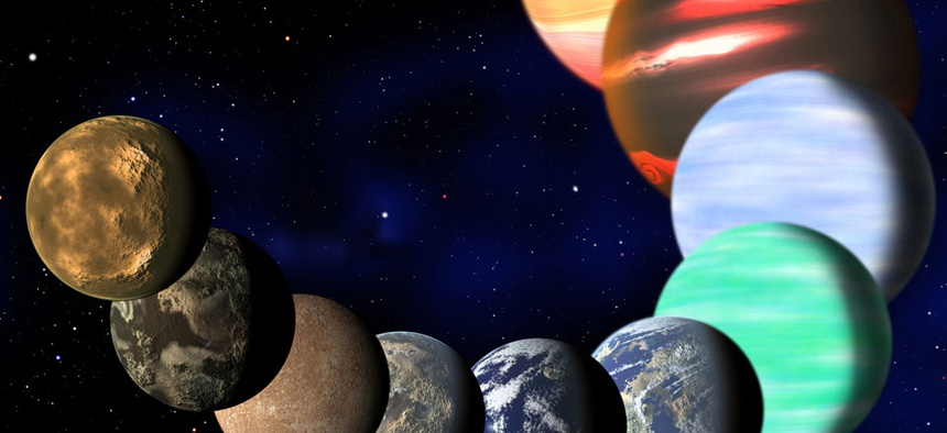 This artist rendering shows the different types of planets in our Milky Way galaxy detected by NASA's Kepler spacecraft.