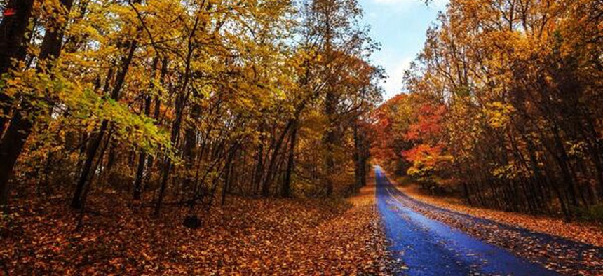 Interior posted a photo on Twitter of fall foliage at Shenandoah National Park to celebrate the changing of the seasons.