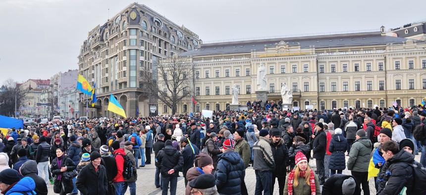 Protestors gathered in Kiev on Nov. 30.