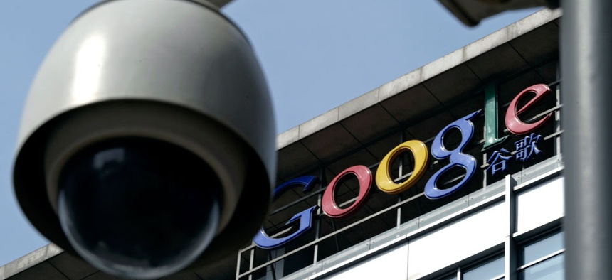 A surveillance camera is seen in front of the Google China headquarters in Beijing, China.