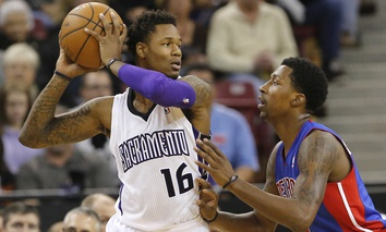Sacramento Kings guard Ben McLemore, left, faces off with the Detroit Piston's Brandon Jennings in a November NBA game.