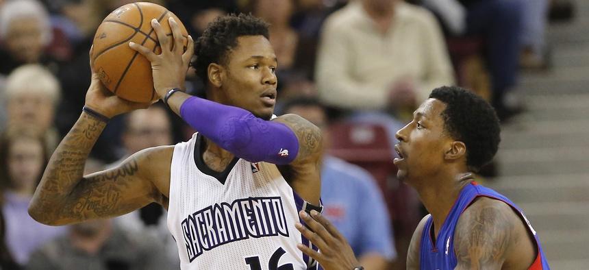 Sacramento Kings guard Ben McLemore, left, faces off with the Detroit Piston's Brandon Jennings in a November NBA game.