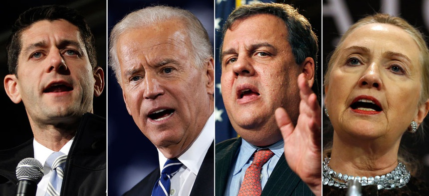 Rep. Paul Ryan, R-Wis., Vice President Joe Biden, New Jersey Gov. Chris Christie, and former Secretary of State Hillary Rodham Clinton.