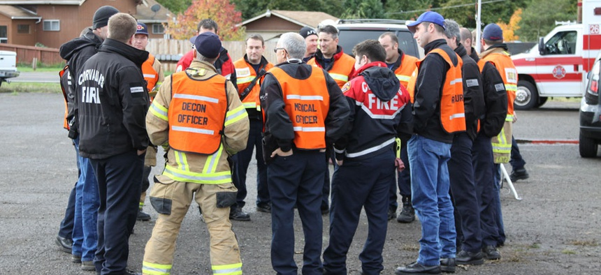 Emergency responders train in Oregon in 2011.